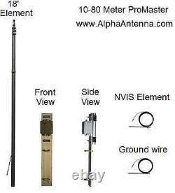 10-80 Meter ProMaster HF amateur ham radio base antenna