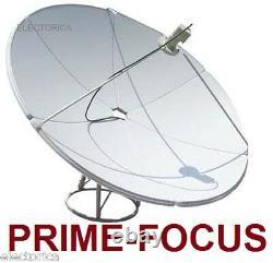 2.1 M PRIME FOCUS SATELLITE C/ KU BAND DISH ANTENNA 6.9 FT With POLE FTA 210 CM