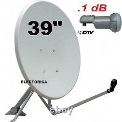 39 Satellite Dish Antenna + Dreambox Dm100 Fta Receiver + Lnb +100 Ft Rg6 Cable