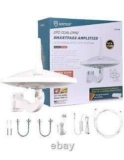 Antop AT-415B Outdoor Dual Omni-Directional 720 TV Antenna in White 65 Mile Rang