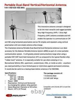 Chameleon Antenna Portable Dual-Band Vertical/Horizontal Antenna for VHF/UHF