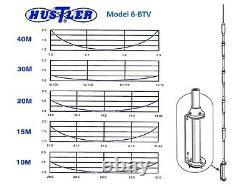 Hustler 6btv 6-band 10-80m Hf Vertical Ham Radio Base Antenna 1500w