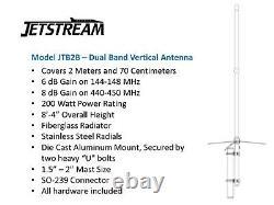 JETSTREAM JTB2-B 8Ft DUAL BAND VHF/UHF 144/440MHz 6/8dB VERTICAL BASE ANTENNA