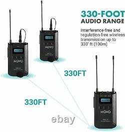 Movo WMX-20-DUO UHF Wireless Lavalier Microphone System with 2 Transmitters