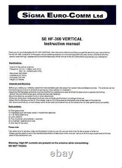 Se Hf-360 Fibre Glass Vertical Radial Free Antenna 80 To 6 Metres