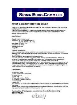 Sigma Eurocom Se-hf-x80 Vertical Radial Free Antenna 80 To 6 Metres
