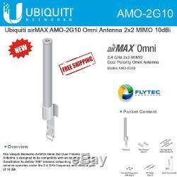 Ubiquiti AMO-2G10 2.4Ghz 10dbi 2x2 MIMO Omni Airmax Outdoor Antenna 150Mbps+