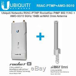 Ubiquiti R5AC-PTMP Rocket5ac PtMP 11AC + AMO-5G10 5GHz 10dBi airMAX Omni Antenna