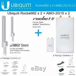 Ubiquiti Rocket M2 2.4GHz CPE AirMax 2UNITS+ 2XAMO-2G10 2.4GHz 10dBi airMAX Omni