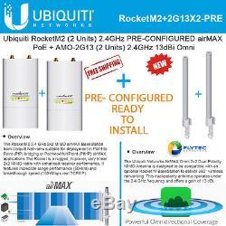 Ubiquiti RocketM2 2.4GHz (X2) airMAX PRE-CONF + AMO-2G13 2.4GHz 13dBi Omni (X2)