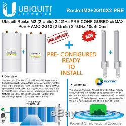 Ubiquiti RocketM2 airMAX PRE-CONFIGURED (X2) + Omni Antenna AMO-2G10 10dBi (X2)