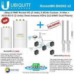 Ubiquiti RocketM5 2Pack BaseStation PtMP +AMO-5G10 2Pack Omni Dual Antenna 10dBi