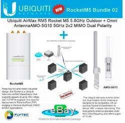 Ubiquiti RocketM5 BaseStation PtMP +AMO-5G10 Omni Dual Antenna 10dBi